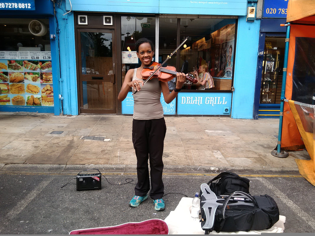 Busker Angel Market London Violin Fiddle
